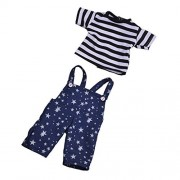 Jili Online Striped T-Shirt Shoulder Strap Pants Outfit for 17inch Zapf Baby Born Doll