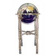 Unique Art 36-inch by 13-inch Floor Standing Blue Lapis Gemstone World Globe with Silver 4-Leg Stand by Unique Art Since 1996