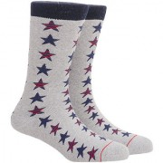 Soxytoes Sport Stars! Grey Cotton Calf Length Pack of 1 Pair Starred for Men Athletic Sports Socks (STS0040B)