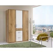 Lifestyle4Living Drehtürenkleiderschrank 3-trg. in Plankeneiche NB mit weißen Absetzungen, B/H/T ca. 135/199/58 cm