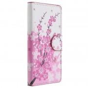 Capa de Pele Tipo Carteira Stylish para Sony Xperia Z3 Compact - Flores Rosa