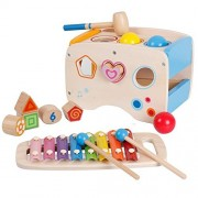 Lewo Wooden Toddlers Musical Toys Pound Tap Bench Xylophone Shapes Sorter Early Educational Games for Kids