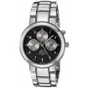 gino franco Men's 921BK Round Stainless Steel Multi-Function Bracelet Watch