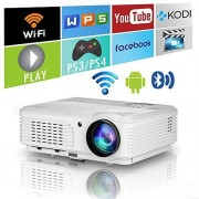 eug Android Smart Home Movie Projector Bluetooth WiFi Digital LCD LED HD 4400 Lumens Bluetooth Wireless Theater Projectors Outside Inside Ceilingfor Mobile Phone Laptop Roku TV DVD Player Xbox PS4