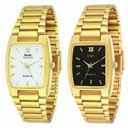 HWT Rectangle Black And White Dail Golden Metal Watches Combo Pack Of 2 Pcs