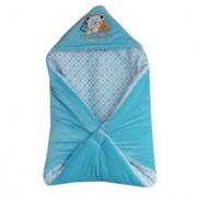 Furn@Home Teddy Family Hooded Shearing Velvet Sky Blue Baby Blanket