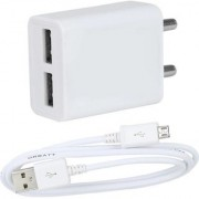 Dual USB Fast Charger for Mobile 2.4 AMP with High Speed Charging Data Cable Dual USB Adapter with Data Cable