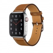 Часы Apple Watch Hermès Series 4 GPS + Cellular 40mm Stainless Steel Case with Fauve Barenia Leather Single Tour MU6Y2