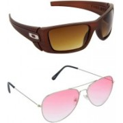 Hrinkar Sports Sunglasses(Brown, Pink)