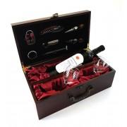 Cutie de Vin pentru o sticla cu 7 Accesorii si Pahare