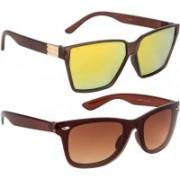 NuVew Rectangular, Wayfarer Sunglasses(Brown, Golden, Violet)