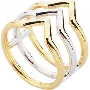 Gab & Ty by Jana Ina Accessori Anelli Set gioielli triangolo Triplo anello bicolore, argento e placcato in oro giallo Gr. 18 1 Stk.