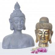 2er Set Deko Figur Buddha 38cm+60cm, Polyresin Skulptur, In-/Outdoor ~ Variantenangebot