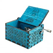SeMius Hand Shake Music Box Retro-Style Wooden Hand-Carved Square Musical Boxes & Figurines (Blue2)