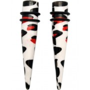 2pc Red White & Black Cow Print Acrylic Stretching Taper- 15/32 Inch