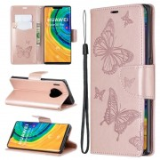 Huawei Voor Huawei Mate 30 Pro Two Butterflies Embossing Pattern Horizontal Flip Leather Case met Holder & Card Slot & Wallet & Lanyard(Gold)