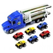 Animal World Truck Trailer Children's Friction Toy Transporter Truck Ready To Run 1:24 Scale w/ 6 Toy Trucks (...