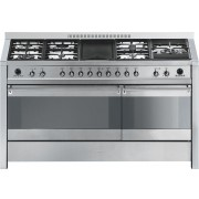 Aragaz SMEG Opera A5-8, 150X60cm, 7 arzatoare + gratar BBQ, cuptor dublu electric, timer, aprindere electronica, pizza, inox