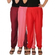 Culture the Dignity Women's Rayon Solid Casual Pants Office Trousers With Side Pockets Combo of 3 - Maroon - Baby Pink - Red - C_RPT_MP2R - Pack of 3 - Free Size