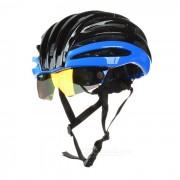 MOON bicicleta de ciclismo de seguridad con el casco de lentes extraibles - Negro + Azul (L)