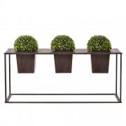 [casa.pro]® Soporte de flores + 3x Macetero - con estilo, decorativo - Marrón oscuro - Metal - 39 x 85 x 24cm