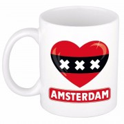 Shoppartners Amsterdamse vlag hartje koffiemok 300 ml