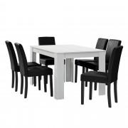 [en.casa] Mesa de comedor diseño - blanco - Set de sillas con estilo elegante - negro