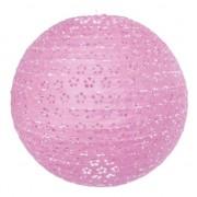 Bol lampion roze bloemen motief 35 cm