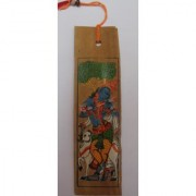 Pattachitra book mark screen printed made of palm leaf depicting Lord Krishna.