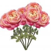 Geen 6x Roze rozen kunstbloemen 66 cm