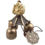 ELECTROPRIME® Chinese Buddha Coin Bell Lucky Feng Shui Hanging Wind Chime 3 Bells Decor