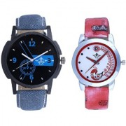 Cronograph Blue Design And Red Peacock Feathers Girls Analogue Watch By SCK