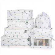 House of Quirk 7 Set Travel Organizer Bag 3 Packing Cubes + 3 Pouches + 1 Toiletry Organizer Bag, Premium Quality - White Cactus(White)