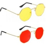 FOX fusion Retro Square Sunglasses(Red, Yellow)