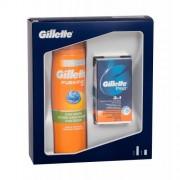 Gillette Fusion 5 Ultra Sensitive + Cooling set cadou gel de barbierit 200 ml + balsam dupa barbierit Gillette Pro 3in1 SPF15 50 ml pentru bărbați