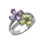 Inel argint 925 cu flori de ametist si peridot