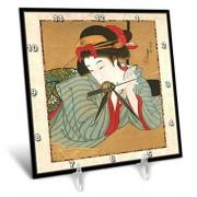 3dRose LLC 3dRose DC_62455_1 1850 Japanese Portrait Painting of Woman-Desk Clock, 6 by 6-Inch