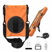 For iPad 9.7 (2018)/9.7 (2017) X-Shape Anti-drop 360 Degree Swivel PC + TPU Combo Kickstand Case with Hand Holder Strap and Shoulder Strap - Orange