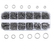 DIY Crafts Mixed Size Mix Iron Open Jump Rings Gunmetal Plated Unsoldered Round Ring Connectors for Chainmail Jewelry Bracelet Necklace Making