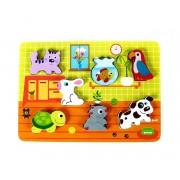 Puzzle din lemn Animale de companie cu piese 3D