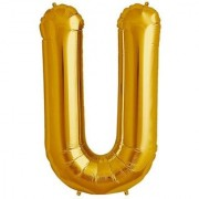 De-Ultimate 16 Inch Alphabet (U) Soild (Golden) Color 3D Foil Balloons For Birthday And Anniversary Parties Decoration
