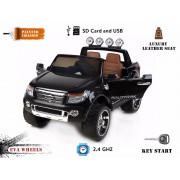 Mașinuță electrică pentru copii de lux Ride-on Ford Ranger Wildtrak, vopsită în negru, 2x Motoare, Telecomandă de 2.4 Ghz, două scaunde de piele, roți ușoare Eva, MP3 USB SD, licență originală Ford