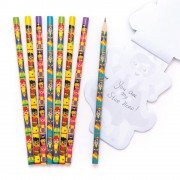 Baker Ross Super Hero Kids Pencils - 16 Funny Wooden Pencils. Fun Pencils For School. Super Hero Party Bag Fillers. Size 18cm.