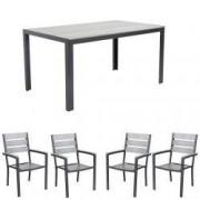Set gradina terasa masa dreptunghiulara cadru aluminiu POLYWOOD GREY 150x90x74cm cu 4 scaune 60x57x89cm
