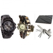 Jack Klein Combo of Round Dial Black Strap Stylish Analog Wrist Watches With Knife And Credit Card Knife