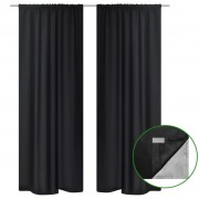 vidaXL 2 pcs Black Energy-saving Blackout Curtains Double Layer 140 x 245 cm