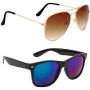 Elgator Aviator, Wayfarer Sunglasses(Brown, Blue)