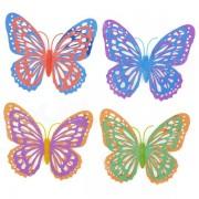 Wing Capas 3D Dual Shining Butterfly Hollow Inicio Etiqueta Decoracion de la pared - multicolor (4 piezas)