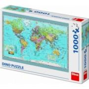 Puzzle Dino Toys Harta politica a lumii 1000 piese Multicolor