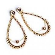 Cercei handmade cristale si perle Swarovski pe cerc de argint 925 Crem si Negru
